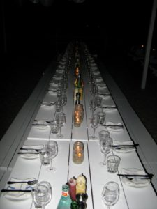 The beautiful tables set by Laura Slatkin in the sand.