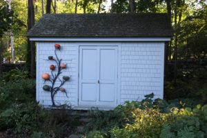 This small equipment shed is near my house and it's decorated for the season.
