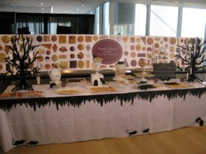 This was the Martha Stewart Milk & Cookies presentation table all nicely decorated for Halloween.