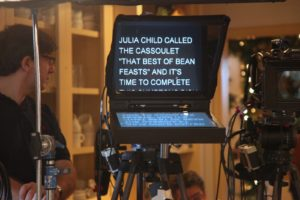 The teleprompter - Julia Child called the cassoulet 'that best of bean feasts.'