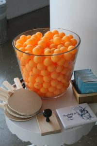Kevin Sharkey had a ping pong table set up with bright orange balls.   That same table and balls can be seen the September decorating issue of Living featuring Kevin's new apartment.
