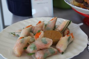 The shrimp and mint summer rolls were delicious with the peanut dipping sauce.