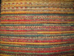 A gorgeous rag rug by Hutton Studios - http://www.huttonstudios.com/ - these rugs are made of cotton and cotton-blend fabrics.