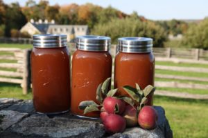 I love the way the cider looks in these one-gallon glass jars.