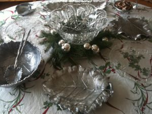Brian decorated his holiday table using my serving platters from the Park Leaves collection at Macy's.