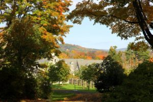 Looking down the carriage road towards the stable - The landscape is ablaze with color.