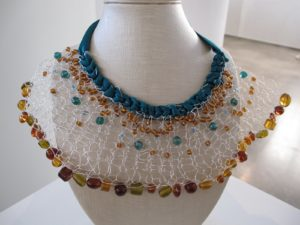 Ashley Little - 'Hand-Knit Wire Necklace' - wire, beads