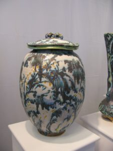 This spectacular pot is by George Pearlman of St. George Pottery. - http://www.stgeorgepottery.com/  This piece is called a Fertility Jar.
