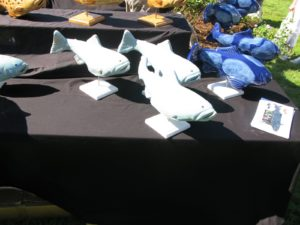 Ornamentation by Fish in the Garden - http://www.fishinthegarden.net/ - The mission of Fish in the Garden is to create new, unique and creative home and garden accents, such as this school of Blue Koi.