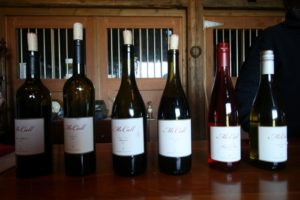 The wines in the McCall tasting room include a merlot, a merlot blend, a pinot noir, a reserve pinot noir, a pinot noir rosé, and a chardonnay.