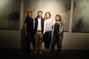 Sarah, Thomas, special projects producer, Judy Morris, and my makeup artist, Daisy Schwartzberg stopped for a quick photo outside the wine cellar.