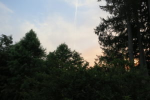 As the sun rose, the sky had a tinge of pink and there were jet streams, as well.