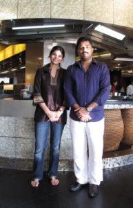 Owner Visvanaath Ayyakkannu and his wife Veshali.