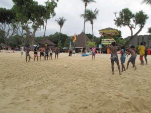 Swimming and beach games are very popular here.