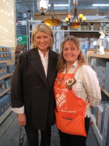 Barbara is proud of her 20-years service award from The Home Depot.