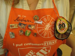Barbara's apron boasts a lot of flair.