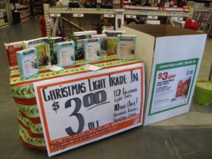 Turn in your old Christmas lights for more energy efficient LED light sets.