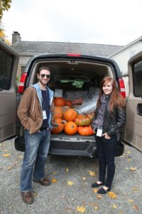 Peter and Amy making a delivery from the TV studio - You can't have too many pumpkins at Halloween time!