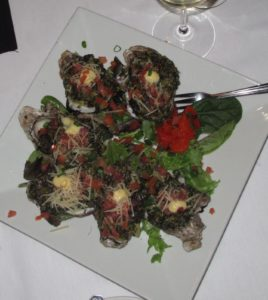 Oysters Rockefeller - baked with spinach, bacon, and cream cheese.  The oysters were from Charleston and were fabulous!