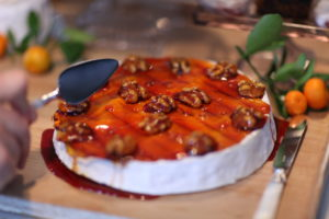 A caramel-topped wheel of Camembert