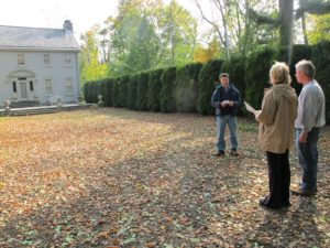 Here we are discussing what sort of stone path will lead from the summer house patio to the pavilion.  Carmine and I agreed to mimic the path which leads to the front of the house.