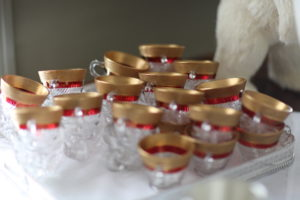 I love these gold rimmed punch cups.