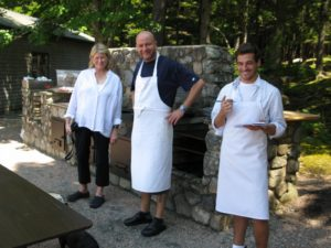 Posing with Pierre and Tom, who helped cook for the weekend.