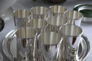 Eggnog was also served in these silver cups.