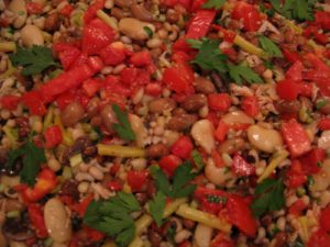 Ripe red tomatoes and chopped Italian parsley added color.