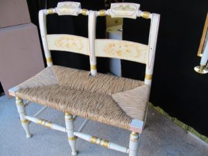 Another reproduction is a Hitchcock-style children's settee - a beautifully done updated version of the New England classic.