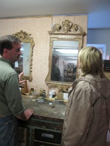 Taking a look at some of the other mirrors in the shop for restoration.