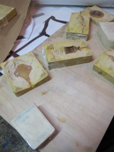 These are some molds of various shapes and designs that they make and keep for future use.