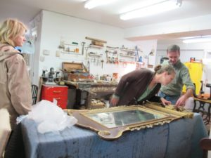 Eileen Curry is an expert gilder.  I can't wait to see this mirror after restoration.