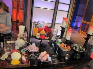 The set was dressed for a ghoulish Halloween demonstration.