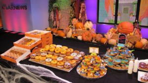 9:00am on Tuesday - At my interview at KTLA Morning News, Krispy Kreme Donuts supplied the colorful Halloween treats.