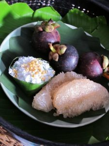 Mangostein, a tapioca dessert, and pomelo sections.