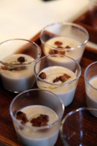 Glasses of wonderful caramelized cauliflower soup garnished with crispy croutons
