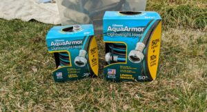 I've been using Gilmour's hoses for many years. Gilmour has a very durable collection of gardening supplies. These are the new AquaArmor™ Lightweight Hoses in 25-foot and 50-foot lengths. They are very useful for doing these outdoor jobs.