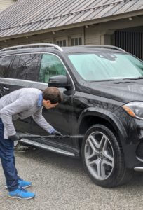 Then he sprays all the wheel wells and tires clean. Usually, I spend a lot of time in my car - driving to and from my New York City headquarters, to various meetings and media appearances, and to visit my daughter and grandchildren. It's important to make sure it is clean and always ready to use.