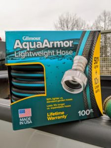 It also comes in a longer 100-foot length. These hoses are 50-percent lighter than standard hoses and up to 10 times longer-lasting. What's also nice is that they unkink so easily and glide over surfaces without snagging or tearing.