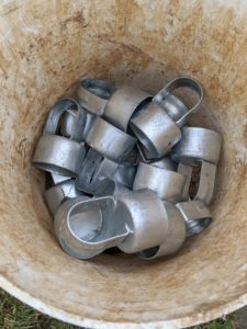 These are called metal fence loop caps, which are used at the top of the steel posts to cover the tube openings.