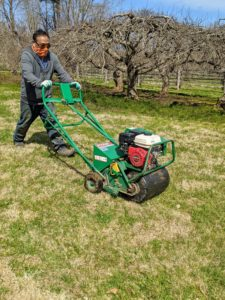 It's best to aerate the day after a good rain, so the soil is moist. Pete guides the aerator up and down the entire lawn, making sure he passes through every section of grass.