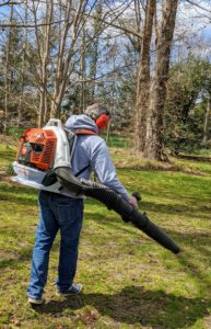 Meanwhile, Fernando helps to blow any old leaves and debris out from the bed and the nearby tree pits. He is using one of our new STIHL backpack blowers. This blower is powerful and fuel-efficient. The gasoline-powered engines provide enough rugged power to tackle heavy debris while delivering much lower emissions. I have been using STIHL's dependable equipment for years.