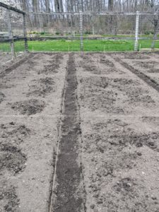 Building up the soil is the most important part of preparing a garden for growing vegetables and flowers. Deep, organically rich soil will encourage and support the growth of healthy root systems. This is one side of the vegetable garden where we are building small, manageable rectangular beds.