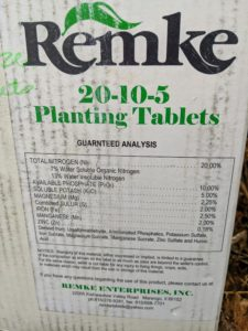 We use Remke tablets which contain a combination of macro and micronutrients essential for plant development. These tablets are pre-measured to ensure adequate and uniform root zone feeding.