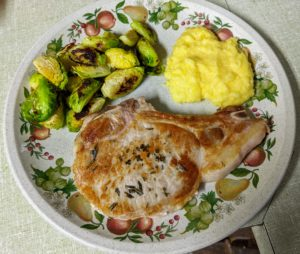 The polenta is served with the pork chops and the pan sauce spooned over top with the Brussels sprouts alongside. Each meal comes with a recipe card with easy-to-follow instructions and photographs.