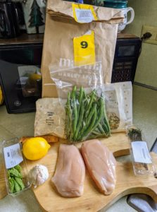 This is another meal - Lemon-Rosemary Chicken with Almond-Herb Gremolata & Green Beans.