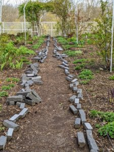 I finally had a purpose for some of the black granite bricks I bought years ago that were never used. Recently, I decided they would look great edging the paths in this cutting garden, so my gardeners and outdoor grounds crew went to work.