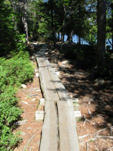 One edge of the lake has a wooden boardwalk.  Hikers are asked to stay on the boardwalk to help preserve the beautiful and fragile surroundings.