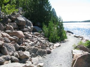 Another rim of the lake trail is a pleasant gravel path.